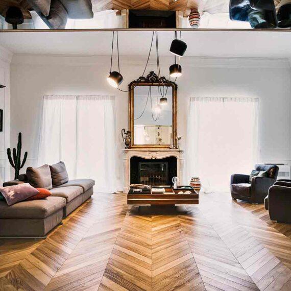 Salone parquet teak 3 strati collezione Bottega